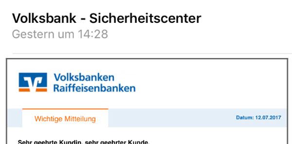 Screenshot: Phishing-Mail Konto verifizieren