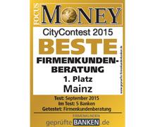 Siegel Beste Firmenkundenberatung in Mainz 2015