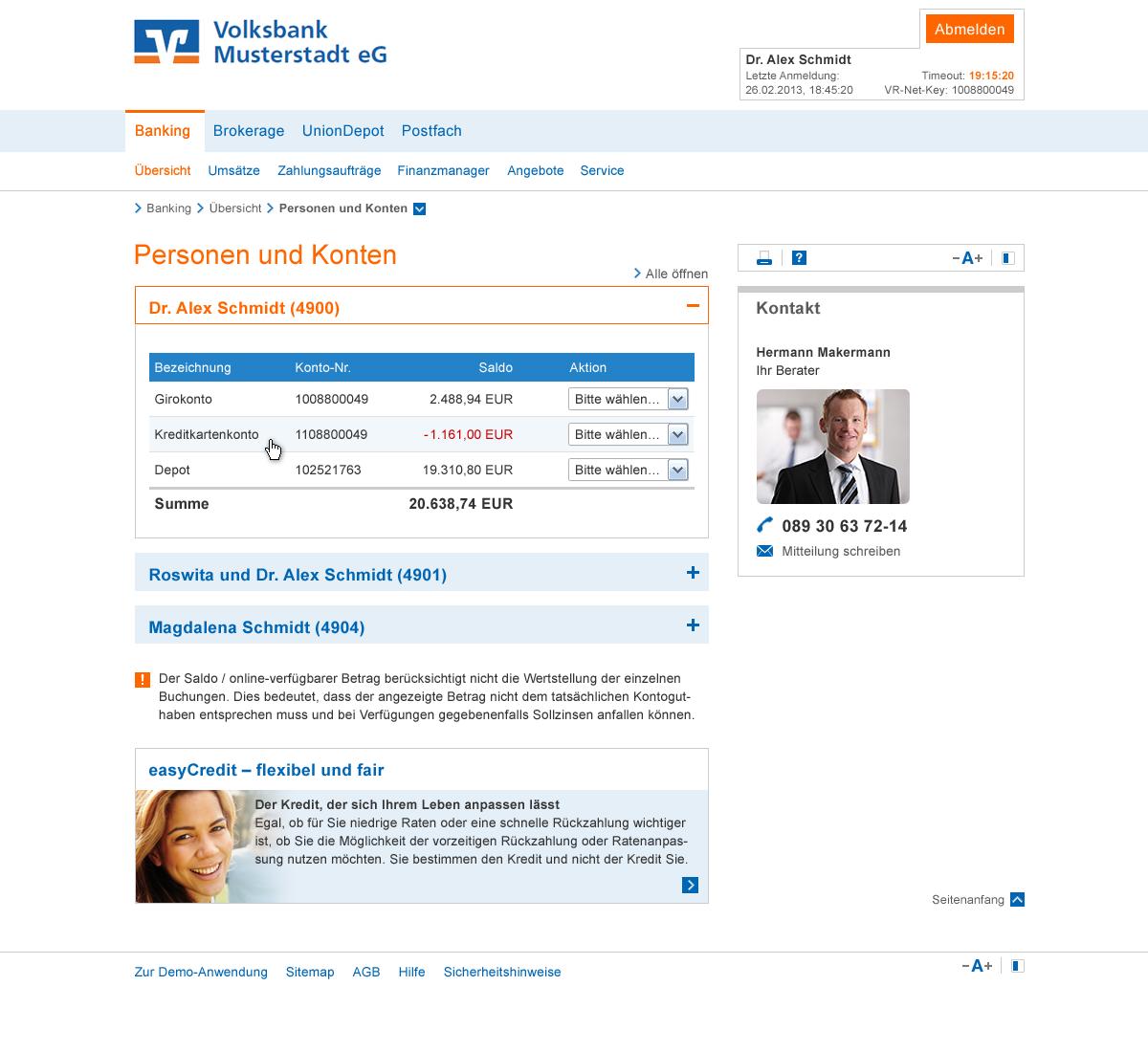 Ansicht Kontoübersicht Online-Banking