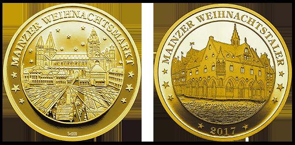 Abbildung Weihnachtstaler Mainz 2017 in Gold
