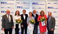 v.l.n.r.: Walter Born (MCV), Claudia Gardemann (in Vertretung einer Preisträgerin), Prof. Dr. Reinhard Urban (Präsident MCV), Magdalena Deutsch (Preisträgerin), Uwe Abel (MVB-Vorstandsvorsitzender), Marion Kinnl (Preisträgerin), Jürgen Gerster (MCV)